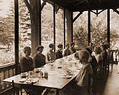 Guests enjoy a meal at Nurses House